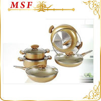 Well equipped happy call kitchen utensils 10pcs aluminum cookware set golden coating inner & outer unique shape handle MSF-6307