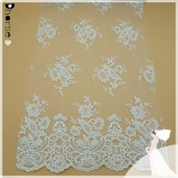 China wholesale off-white hand beaded embroidery lace fabric for bridal