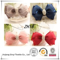 Colors Chiffon Ribbons Rhinestone Hair Bow Bow Hair Jewelry