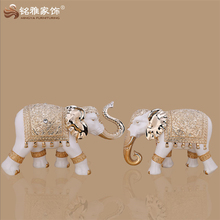 Factory wholesale home decor polyresin electroplated large elephant statue