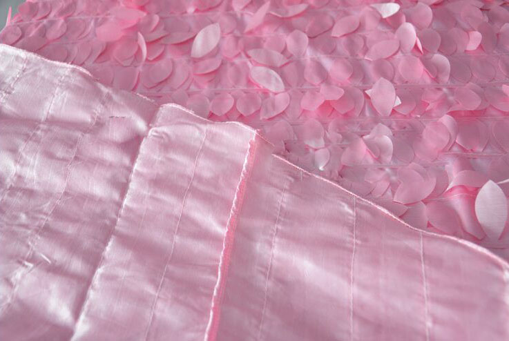 "120"" wedding blush leaf petal taffeta round table cloth"