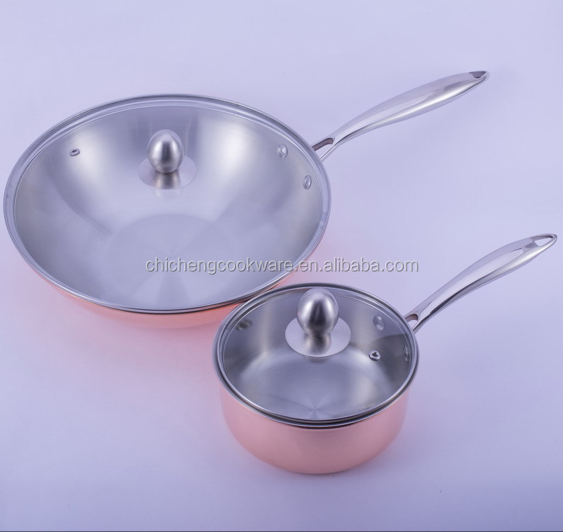 natural nonstick tri-ply copper bottom stainless steel cookware