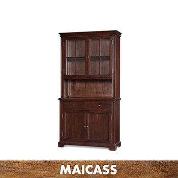 Tall solid wood bookcase with 4 doors