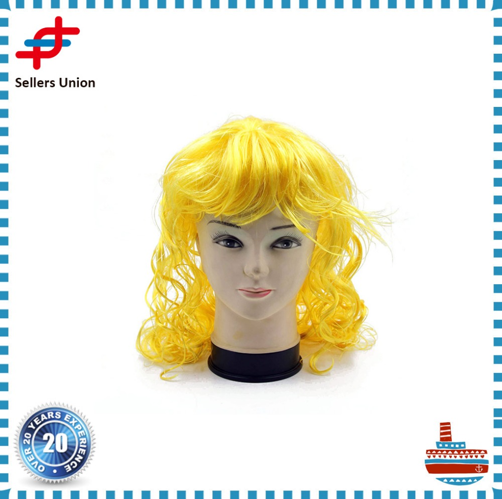 Yellow PET Polyester Fiber Super Wave Women Hair Wig for Party
