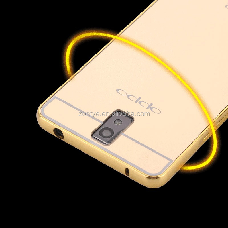 Wholesale Low price for OPPO R3 cell phone back cover mirror back aluminum bumper case