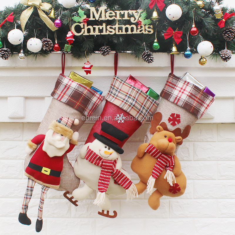 2017 Wholesale Personalised Decorative Christmas Stocking Popular Wholesale Festival Items Tree and House <strong>Decoration</strong>