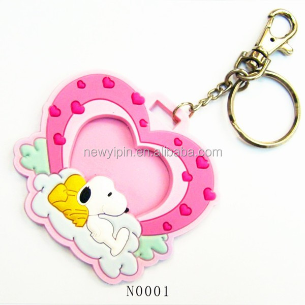 customed shape soft pvc Photo Frame rubber keychain keyring for promotion