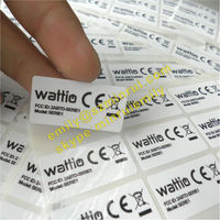 Custom Self Adhesive Water Proof White PET Vinyl Stickers with Company Logo & CE Logo For Electronics Products Use