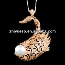 hot sale simple rose gold swan pearl pendants