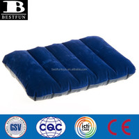 promotion custom made rectangle pvc inflatable pilows flocked pvc beach pillows plastic travel pillow