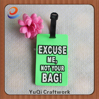 cheap excuse me not your bag soft pvc luggage tag in stock
