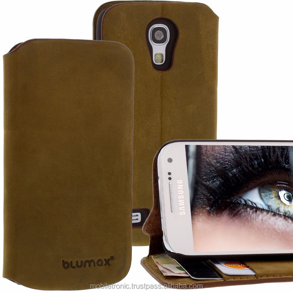 Geniune Leather Lucca Bookstyle case for Samsung Galaxy S4 Mini i9190 i9195 Olive Green Cow Leather