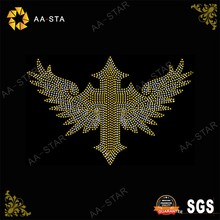 Bling cross religious bling transfers with wings