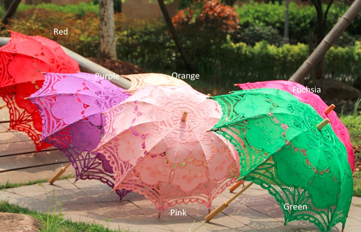 Handmade 2017 Plain Assorted Colors Wedding Dress Umbrella Prop for Bride Party Favors