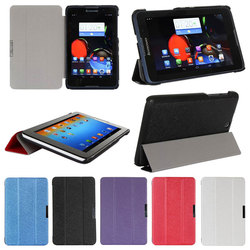 Luxury Silk Tri-Fold Magnetic Leather Case Smart Cover for Lenovo A7-50A 3500 7inch tablet