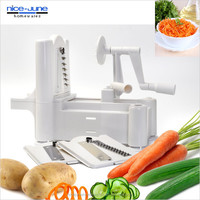 Tri-Blade Plastic Spiral Vegetable Slicer Cutter