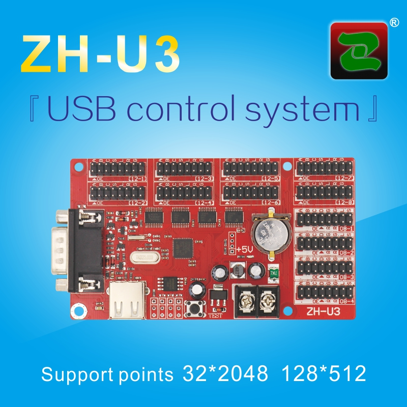 ZH-U3 p10 single dual color outdoor led sign board display controller card