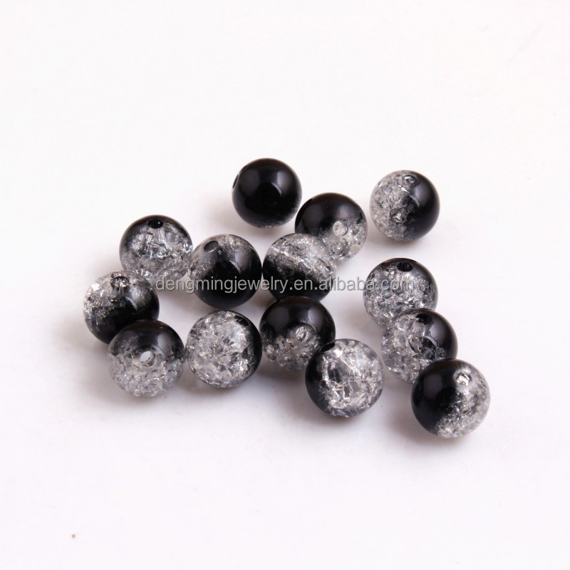 Black Color Wholesales Acrylic Blending Double Crackle Beads for Chunky Necklace Bracelet Jewelry Making 8mm 10mm 12mm 14mm 16mm