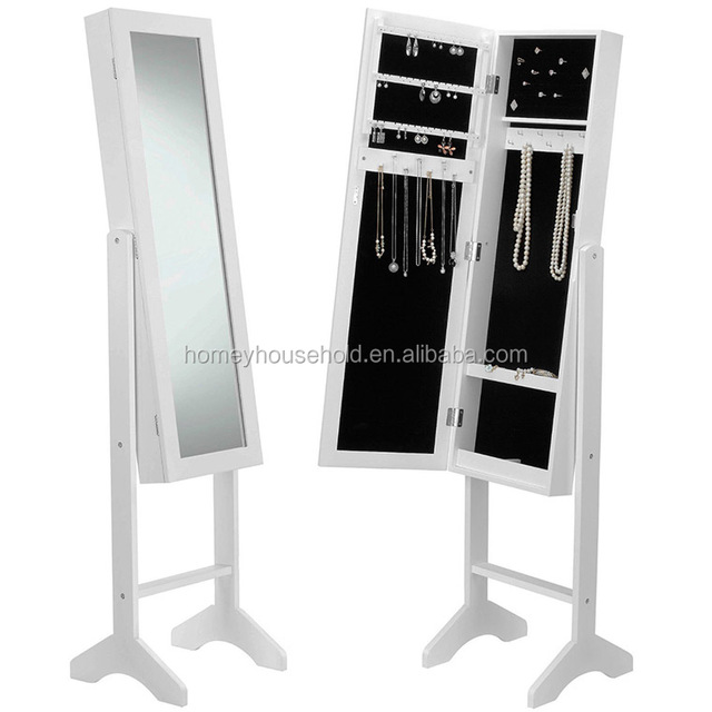 Floor Standing Cheval Mirror Jewelry Armoire Cabinet