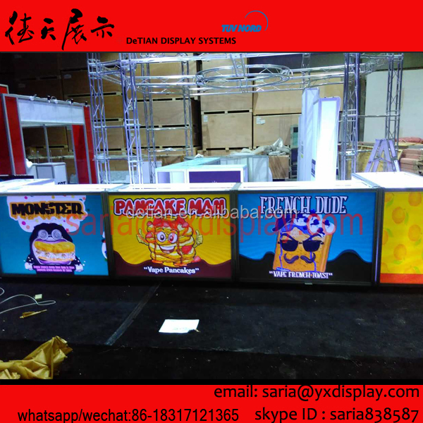 portable bright acrylic displays counters for Vape Fiends from USA, trade show exhibition equipment custom