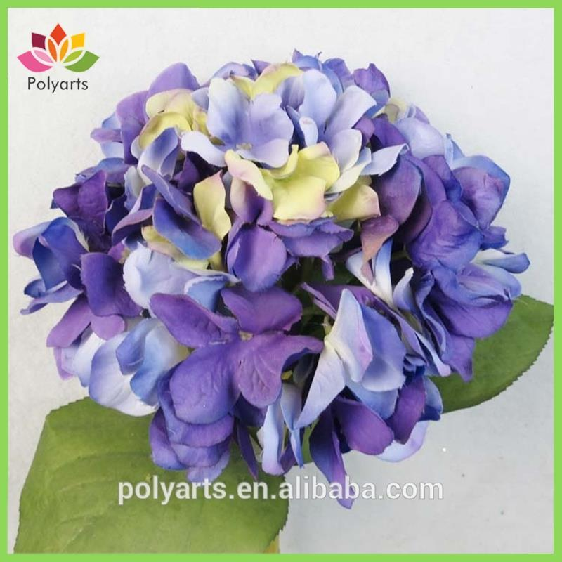 Water stem Artificial flower Blue hydrangea bush for wedding decoration