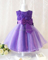 JPSKIRT1505036 2015 purple red blue pink green white bowknot rose flower girl dress