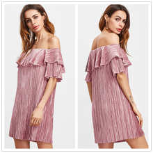Ladies ruffle raglan dress pink ruffle off the shoulder pleated velvet dress