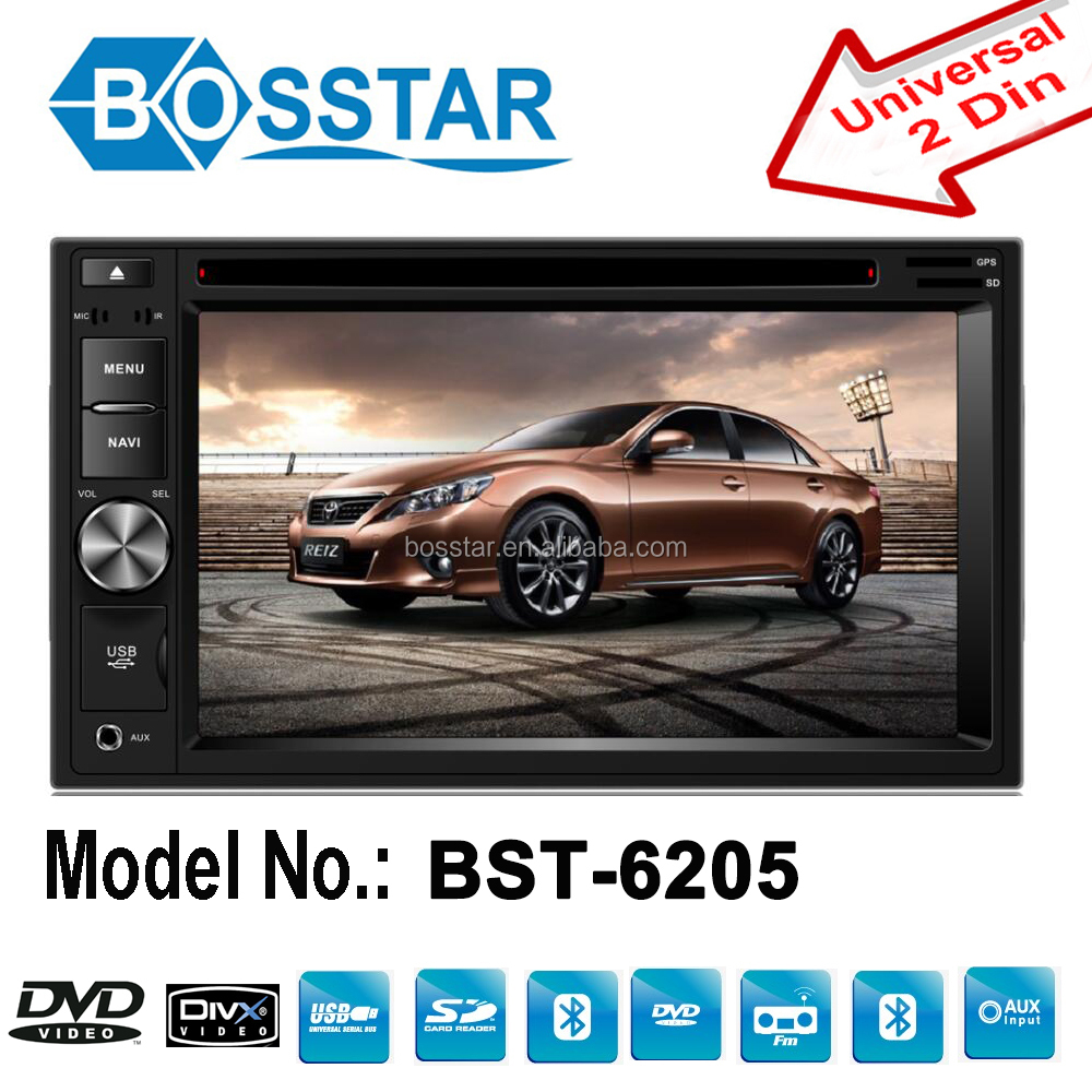 2 din auto radio for universal car dvd 6.2 inch car dvd player with GPS DVD USB/SD AM/FM