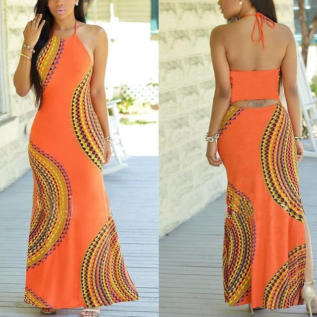 M710 D.Y fashion 2016 halter backless orange african long dress plus size printed long dress