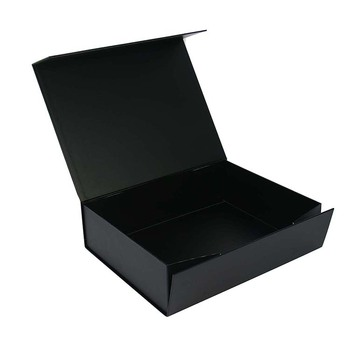 luxury black gift foldable cardboard box with lid