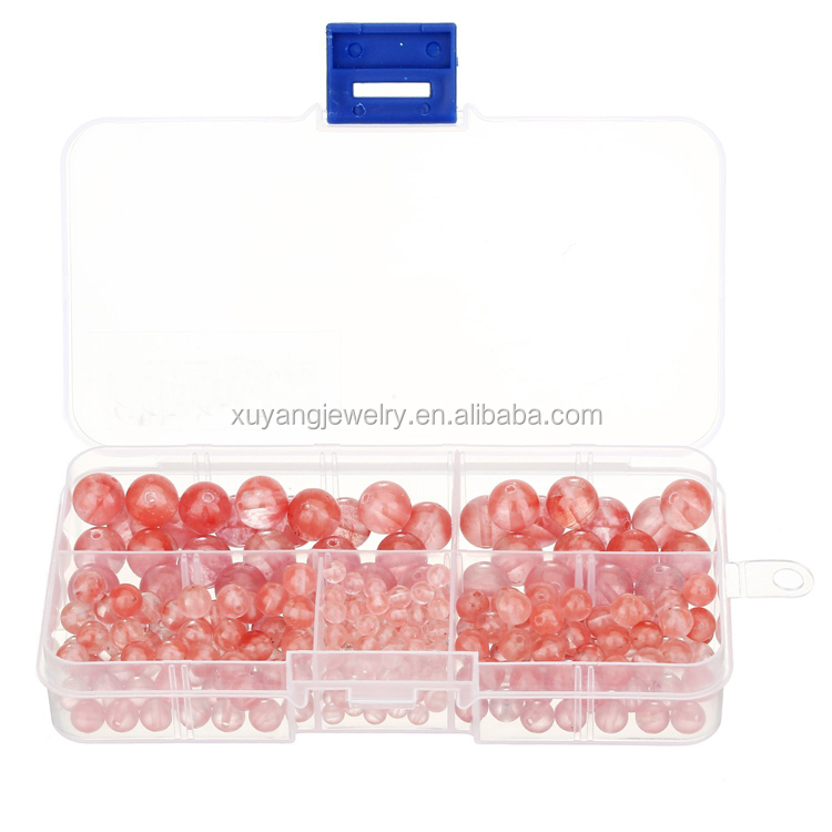 Natural Cherry Quartz Gemstone Round Loose Beads Set for Jewelry Making, 300 Pieces (ABK005)
