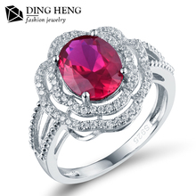 Latest design Flower Shape Bridal 925 Sterling Wholesale Lab Ruby Stone Silver Ring For Wedding