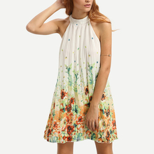 Sleevelss o neckline pleated floral colorful mini dress