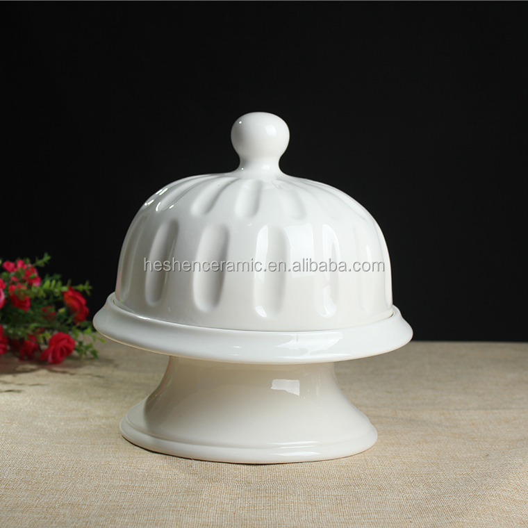 Ceramic butter Dish with decal pattern plain on lid decorative