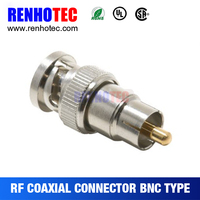 Straight Type Nickel Plated Adapter Male Bnc Connector To Rca Plug