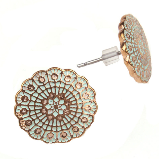 Brincos Round flower Colorful Enamel Alloy stud Earrings for Women Retro Earring