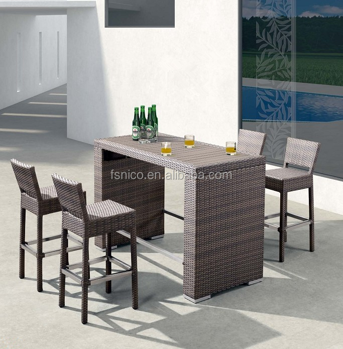 Outdoor wicker with aluminum folding table and chair