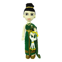 crocheted doll wear thai traditional costume (green color)