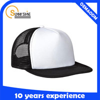 Sunny shine new style product high quality cheap two tone foam and mesh flat brim trucker cap