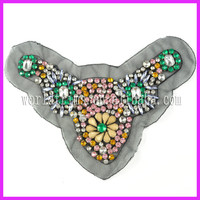 Wholesale Fancy Beading Neckline Rhinestone Applique Collar Motif Trimming For Evening Dresses WTA115