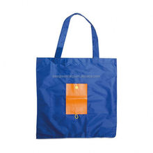 Vest shape 210T ripstop polyester reusable folding shopping bag with integrated rectangle flap pouch