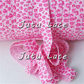 "Eco-Friendly high quality 5/8"" colorful foil custom printed foe - pink leopard print hair tie"