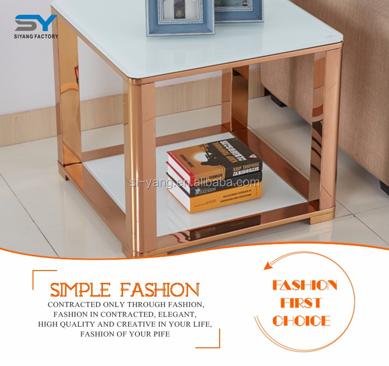 Bedroom furniture modern side table with glass top JJ048
