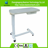 China Supplier BT-AT009 Hospital Furniture Height Adjustable ABS Plastic Over Bed Table laptop tray tables