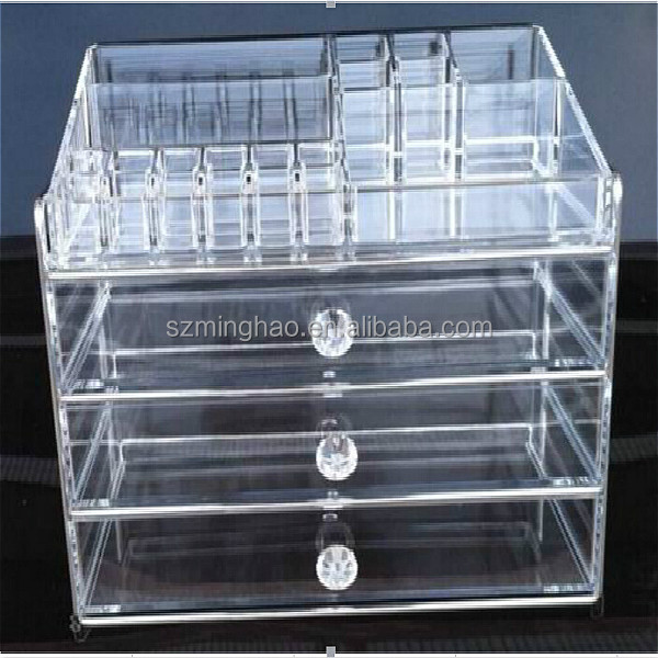 wholesale clear acrylic makeup organizer, cosmetic storage boxes with drawers