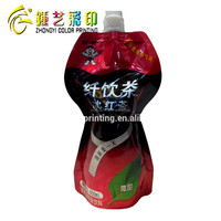Food packaging plsatic bag,spouted special shape stand up pouch,plastic packaging bag with QS/OEM certification