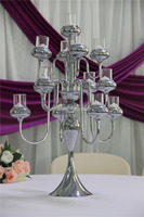 silver plating glass candle cup/cheap metal candle holder/wine bottle candelabra