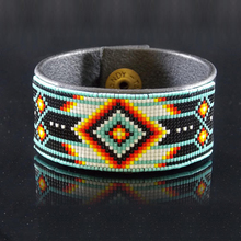Native American Beaded Bracelet Leather Cuff Authentic Cherokee Hand Made Jewelry Native American Bracelet