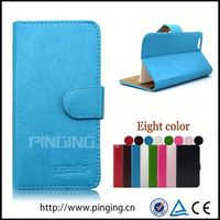 Pure book wallet style design leather back case for Alcatel One Touch POP Icon 7040t