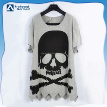 OEM manufactures in guangzhou custom design baggy plus size printing beads old skull t-shirt with asymmetric hem